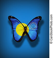 Palau flag butterfly with coat of arms, isolated on flag...