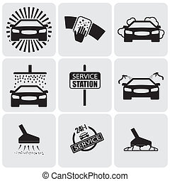 car wash icons(signs) set of cleaning car- vector graphic....