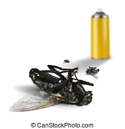 Insecticide spray bottle with dead flies - Insecticide spray...