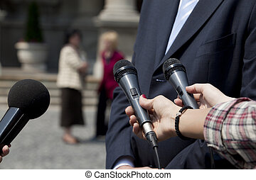 microphones - A journalist is making a interview with a...