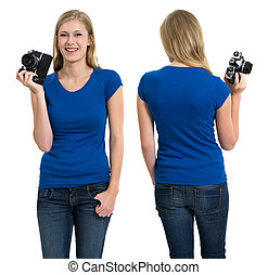 Female with blank blue shirt and camera