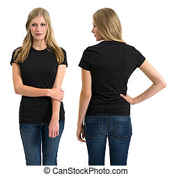 Female with blank black shirt and long hair - Photo of a...