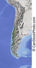 Chile, shaded relief map