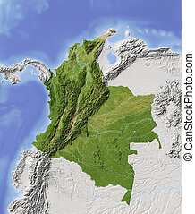 Colombia, shaded relief map - Colombia. Shaded relief map...