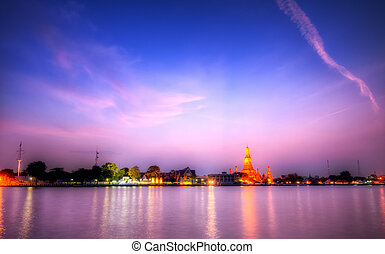 Blue hour at Arun temple - The Arun temple, Bangkok Thailand...