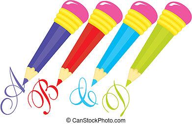 Color pencils set on white background.