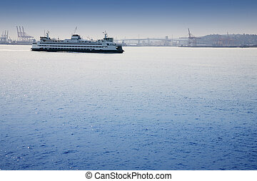 Ferryboat - A passenger and vehicle ferry boat leaving...