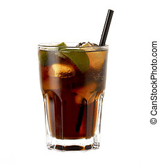 Rum Cocktail Cuba Libre - Rum Cocktail Cuba libre with lime...