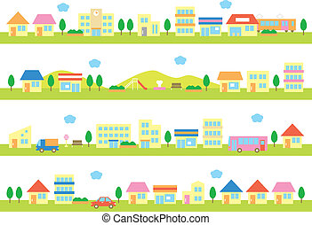 stores and houses on a street, white background