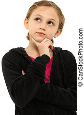 Adorable Caucasian Tween Girl Child Thinking Seriously over White