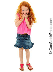 Adorable Caucasian Redhead Girl Child Surprised Expression