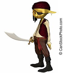 Goblin Pirate - Green-skinned goblin pirate with eye patch,...