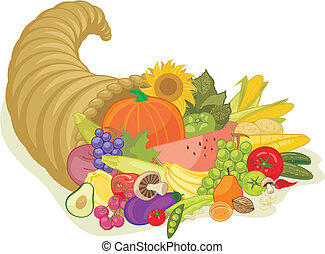 Abundance Horn - Abundance horn with various fruits and...