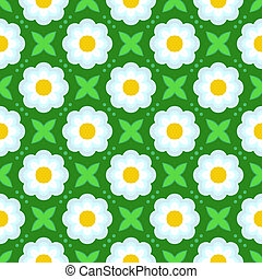 Pattern with bold stylized flowers in 1970s style - Floral...