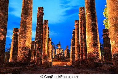 Sukhothai Historical Park - Sunrise Twilight Buddha Statue...