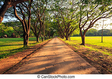 Dirt Road stretching out - Dirt Road stretching at Sukhothai...