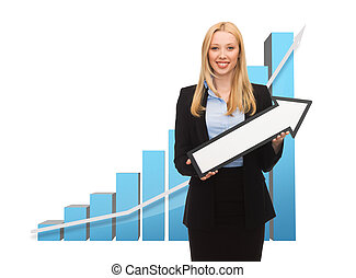 businesswoman with graph and arrow directing up - business...