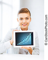 businesswoman showing tablet pc with graph - business...