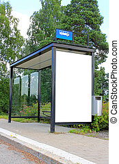 Urban Bus Stop Shelter with Blank Billboard - Urban bus stop...