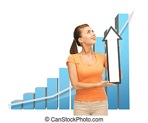 woman with rising graph and arrow directing up - business...
