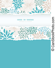 Blue and gray plants vertical torn frame seamless pattern...