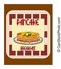 pancake breakfast concept - pancakes on plate with butter...