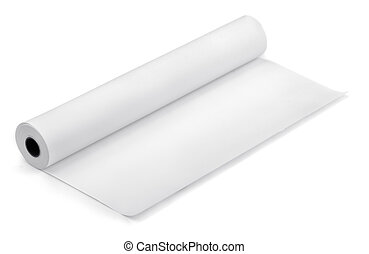 Paper roll - Roll of thermal fax paper isolated on white