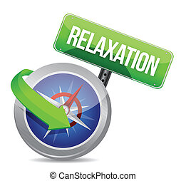 compass pointing to relaxation. illustration design over...
