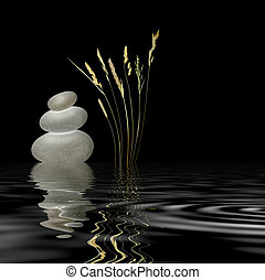 Zen Garden - Zen garden abstract of grey spa stones in...