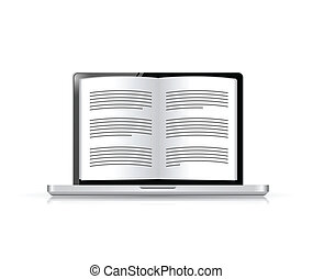 ebook on a laptop screen illustration design over white