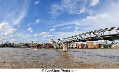 River Thames - London Millennium Footbridge crossing the...