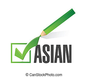 race selection. pick asian. illustration design over a white...