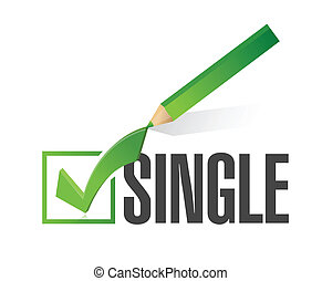 selected single with check mark. illustration