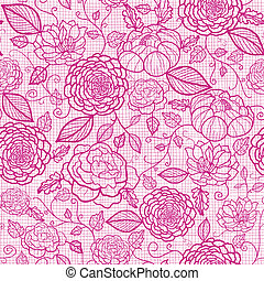 Pink lace flowers seamless pattern background - Vector pink...