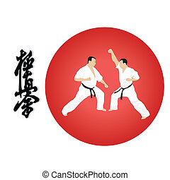 karate - illustration, silhouette of the man of engaged...