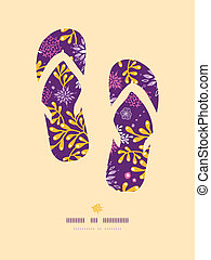 Purple and gold underwater plants flip flops pattern...