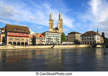 Zurich cityscape and river Limmat, Switzerland . - Zurich...
