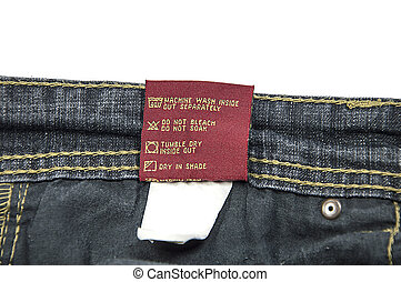 Jeans Wash Care Instructions - Washing and dry-cleaning...