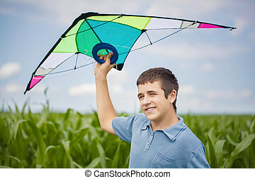 Boy with kite on a corn field - Boy with kite on a corn...