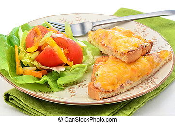 Tuna melt with salad - Delicious tuna melt with cheese and...