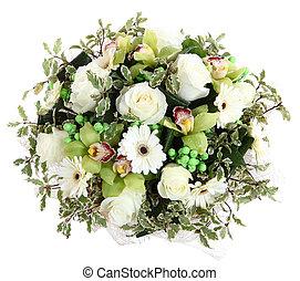 floral, compositions, blanco, rosas, blanco, gerberas,...