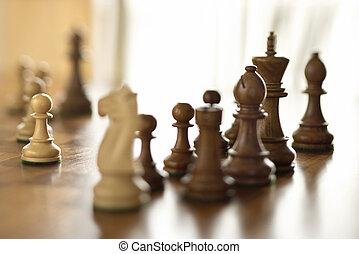 ajedrez, pedazos, ajedrez, tabla