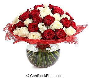 Floristic arrangement of white and red roses Floral...