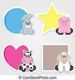 set of animal stickers