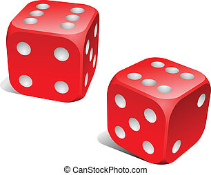 Red and white dice with double six roll