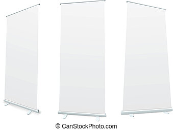 Roll-up blank white display realistic vector illustration