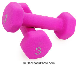 Pair of Pink 3 Pound Dumbells over White.