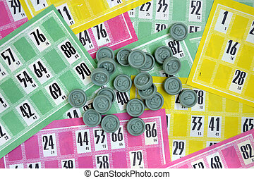 lotto - multicolored cards and chips to play the lotto