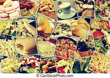 photo-sharing - mosaic with pictures of different meals and...