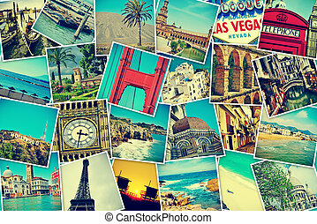photo-sharing - mosaic with pictures of different places and...